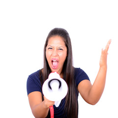 Portrait of young business woman shouting with a megaphone again
