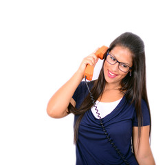 Portrait of young woman talking on phone with smile on face agai