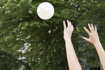 Detail of playing volleyball
