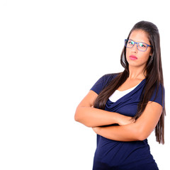 Serious business woman portrait with crossed arms against white