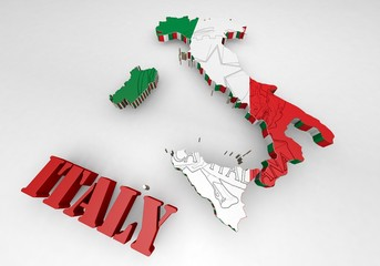 Map of Italy with flag
