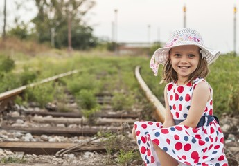 One girl on railroad