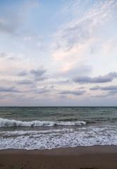 Beach on the Black Sea coast at sunset