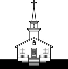B/W Church vector