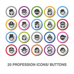 Profession flat icons/ buttons with shadow.
