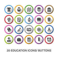 Education flat icons/ buttons with shadow.