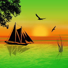 Sailboat on sunset landscape