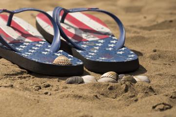 Flip flops on the beach