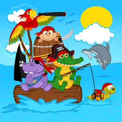 animals pirates - vector illustration, eps