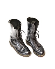 Pair of mid-calf 14 eyelet black lace-up boots