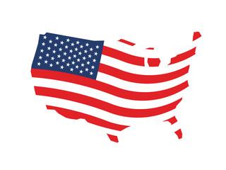 USA wave stars and stripes map logo