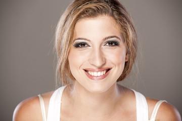 Headshot of girl with beautiful smile and teeth