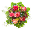 canvas print picture - roses bouquet isolated on white background. pink and red  flower