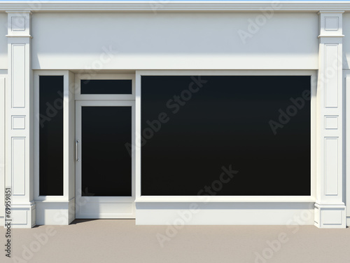 Shopfront with large windows. White store facade. - 69959851