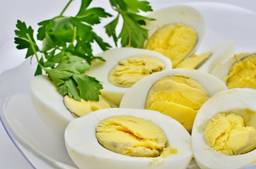 Hard boiled eggs decorated with parsly