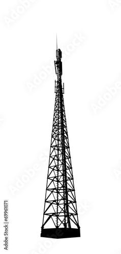 Telecommunications tower. Radio or mobile phone base station.