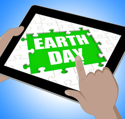 Earth Day Tablet Shows Conservation And Environmental Protection