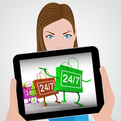 Twenty-four Seven Bags Displays Shopping Availability and Open H