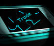 Trade Smartphone Displays Internet Business And Commerce