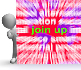 Join Up Word Cloud Sign Shows Joining Membership Register