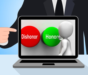 Dishonor Honor Buttons Displays Integrity And Morals