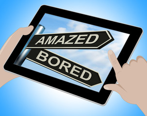 Amazed Bored Tablet Shows Dull And Amazing