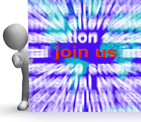 Join Us Word Cloud Sign Shows Joining Membership Register