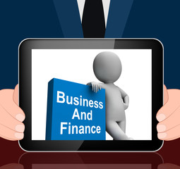 Character With Business And Finance Book Displays Businesses Fin