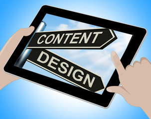 Content Design Tablet Means Message And Graphics