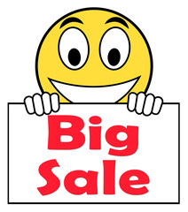 Big Sale On Sign Shows Promotional Savings Save Or Discounts
