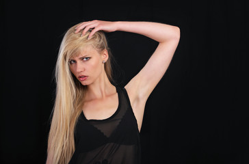 Sensual woman holding hair
