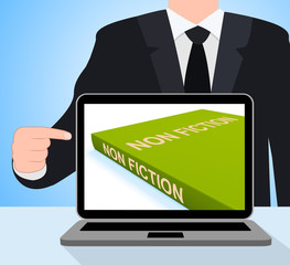 Non Fiction Book Laptop Shows Educational Text Or Facts