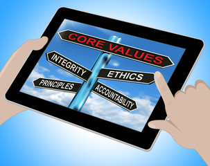 Core Values Tablet Means Integrity Ethics Principals And Account