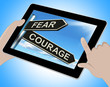 Fear Courage Tablet Shows Scared Or Courageous