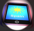 Obrazy na płótnie, fototapety, zdjęcia, fotoobrazy drukowane : Spain On Phone Displays Holidays And Sunny Weather