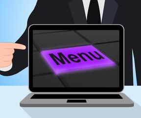 Menu Button Displays Ordering Food Menus Online
