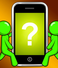 Question Mark On Phone Displays Help Confused And Doubt