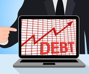 Debt Graph Chart Displays Increasing Financial Indebted