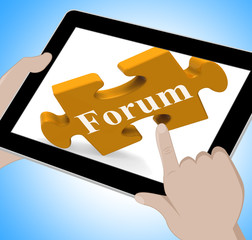 Forum Tablet Shows Internet Discussion And Exchanging Ideas