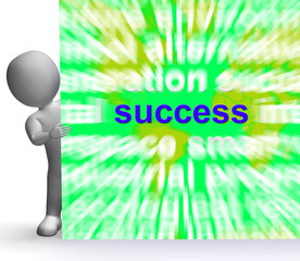 Success Word Cloud Sign Shows Succeed Winning Triumph And Victor