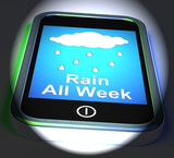 Rain All Week On Phone Displays Wet  Miserable Weather poster