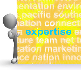 Expertise Word Cloud Sign Shows Skills Proficiency And Capabilit