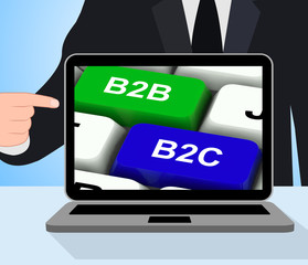 B2B And B2C Keys Displays Business Partnerships Or Consumer Rela