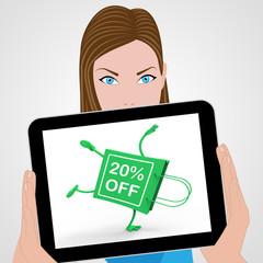 Handstand Shopping Bag Displays Sale Discount Twenty Percent Off