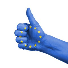 European union concept - hand thumbs up with eu flag
