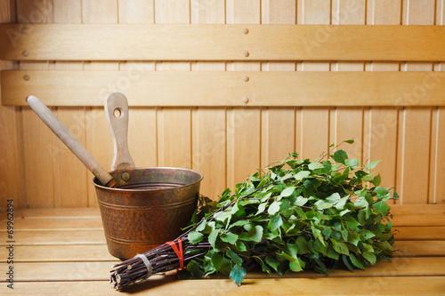 bunch of green birch twigs in sauna - 69962894