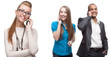 happy smiling business people calling by mobile telephone