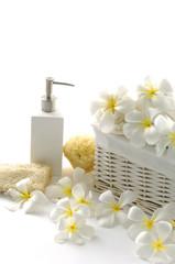 Spa essentials (white frangiani and massage oil)