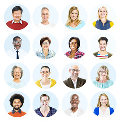Headshot's of Multi-Ethnic Group of People Isolated