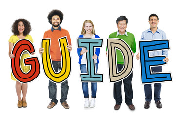 Group of People Standing Holding Guide Letter